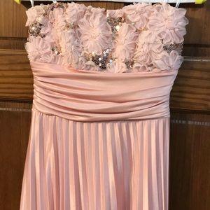 Pink Floor Length Strapless Dress